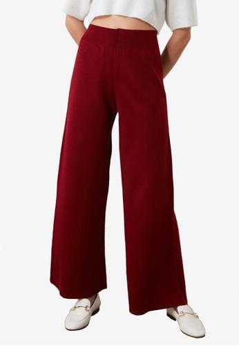 Trendyol red Wide Leg Knit Trousers 71A9FAA3A6E884GS_1