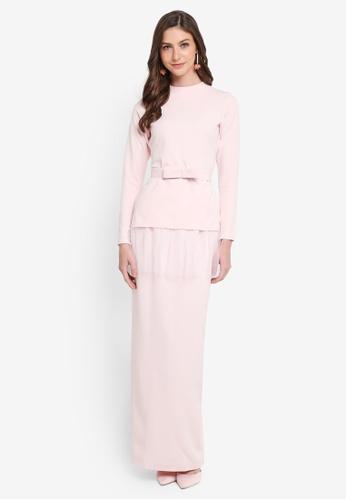 SHEA RASOL pink Orenda Modern Kurung C5703AA3C18D6BGS_1