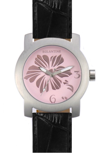 EGLANTINE black and pink and silver EGLANTINE® Bauhinia Ladies Steel Quartz Watch on Black Leather Strap 3C3E6AC22A6E6BGS_1