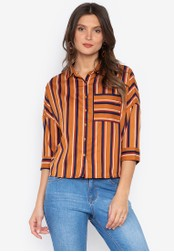 MEMO brown Vertical Stripes Shirt 263CAAA73690B2GS_1