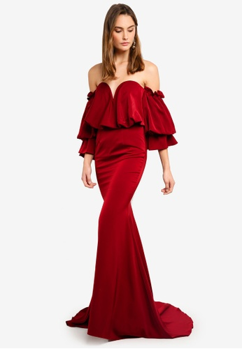 978ca14defb Elle Zeitoune red Satin Dress With Off Shoulder Oversized Belle Sleeves  9DF95AAC9A19B5GS_1