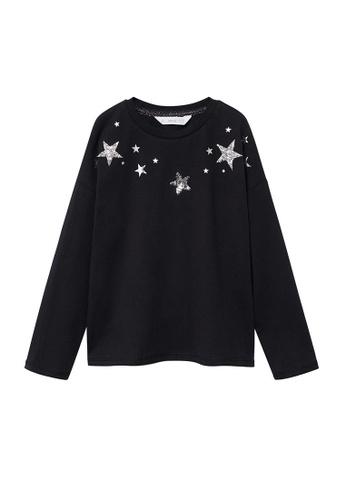MANGO KIDS black Sequin Star T-Shirt DF4F3KAEBD2D7BGS_1