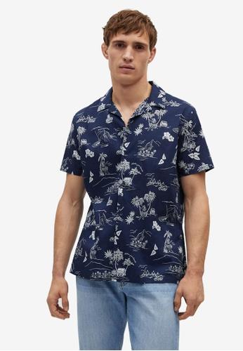 Mango Man blue Short Sleeves Tropical-Print Shirt FAAF6AA0E4954CGS_1