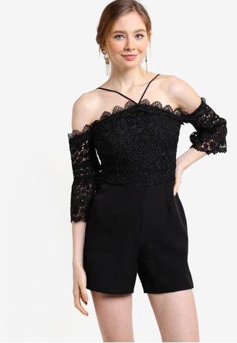 Miss Selfridge black Cold Shoulder Lace Playsuit MI665AA93YCKMY_1