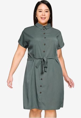 Only CARMAKOMA green Plus Size Diega Dress E7397AABD272E5GS_1