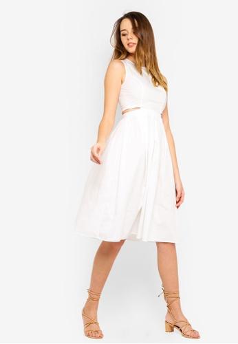 ZALORA white Sleeveless Cut Out Midi Dress 90B99AAB7A7C20GS_1
