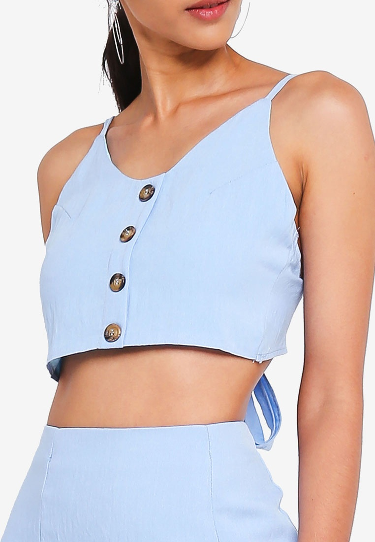 Button Coord MISSGUIDED Back Cami Up Toe Blue Top zBxxPA