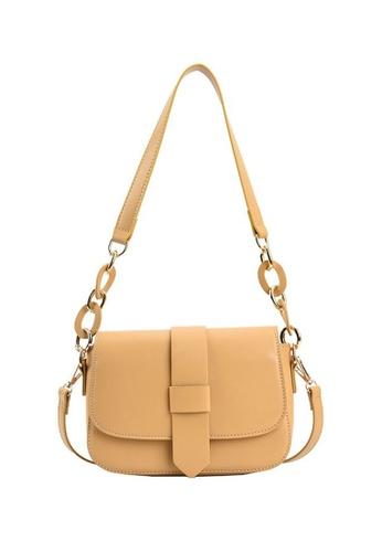 Lara yellow Women's Minimalist Plain Flap Saddle Shoulder Bag - Yellow F8575AC6FCB3B1GS_1