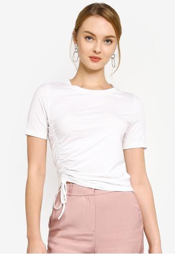 Hopeshow white Drawstring Round Neck Short Sleeve T-Shirt B35E2AAA4EA18EGS_1