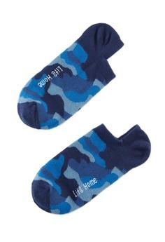 【ZALORA】 Home 迷彩紋精梳棉 輕薄型船型襪-93029-藍