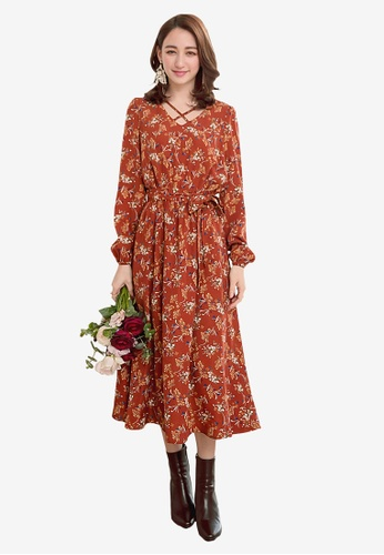 YOCO brown and multi Floral Cross Front Dress F88E9AA0DD347EGS_1