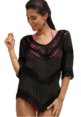 LYCKA black LTH4016-European Style Beach Casual Top-Black C401FUS46AA501GS_1