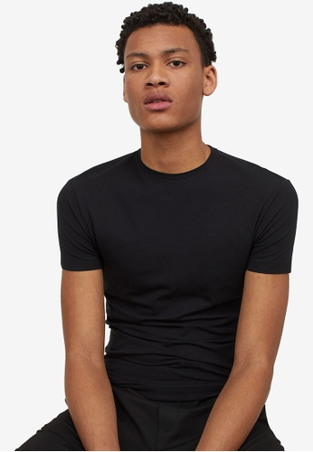 H&M black Round-Neck T-Shirt Muscle Fit ECCAAAA47476B6GS_1