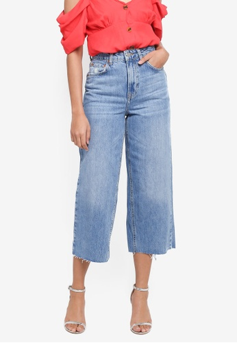 TOPSHOP blue Moto Mid Blue Cropped Wide Leg Jeans 5FCF9AA69541F3GS_1