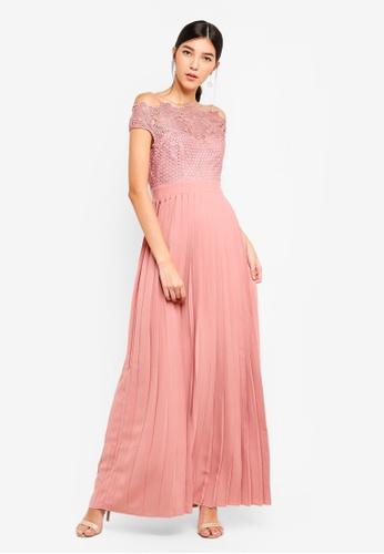 Little Mistress pink Apricot Bardot Maxi Dress D222DAA59B8646GS_1