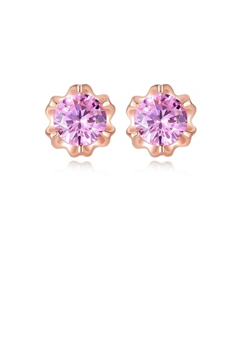 Glamorousky pink 925 Sterling Silver Plated Rose Gold Fashion Elegant Flower Stud Earrings with Pink Cubic Zirconia 74F3AACD75A58DGS_1