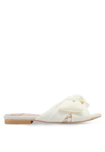 Velvet white Knotted Slip On Sandals D7372SHCDAEB19GS_1