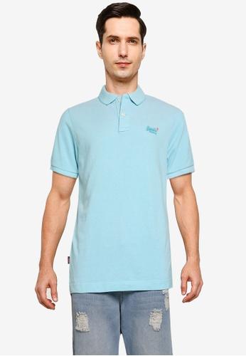 SUPERDRY blue Classic Pique Short Sleeve Polo Shirt - Vintage Logo Emblem E7802AABC2DF19GS_1