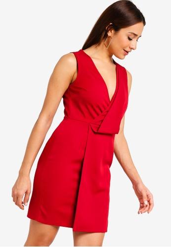ZALORA 紅色 Drape Detail Dress 60442AA5EC4844GS_1