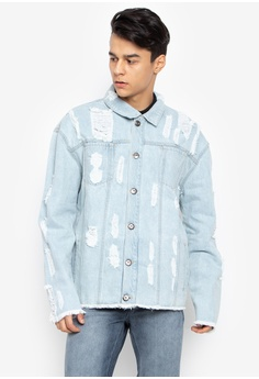 8419c22dfc2d3d Folded   Hung blue Mens Long Sleeves All Over Distressed Frayed Edges With  Welt B558DAA02C0C1DGS 1