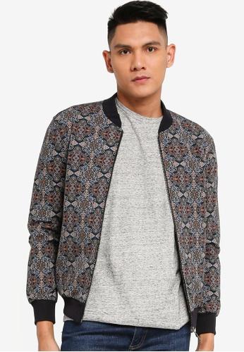 Sarto Avner multi Sarto Avner Men's Full Print Knitted Jacket with Ribbed Trims 8E480AA8F8EDE5GS_1