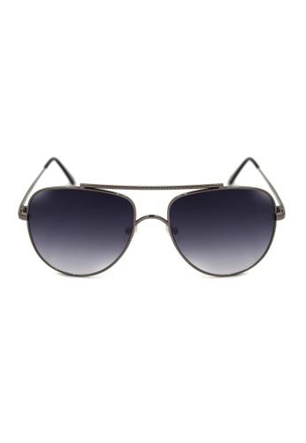Maldives Eyewear black and silver Williams Aviator Textured Brow Bar Sunglasses 8006-7-Y MA573GL11RKEPH_1