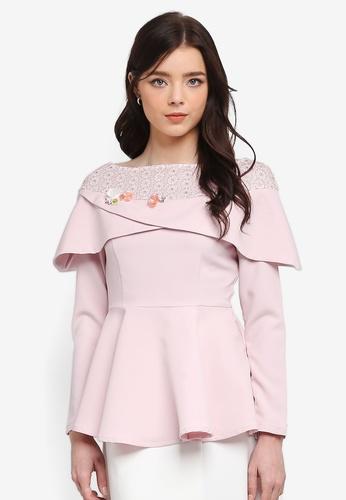 Zalia pink Embellished Lace Pieced Peplum Top 92DCBAAC27C70EGS_1