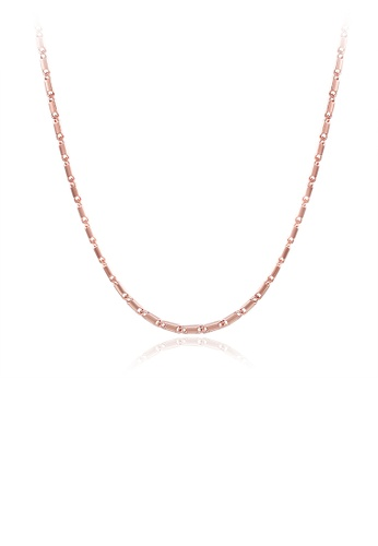 Glamorousky silver Fashion Simple Plated Rose Gold Flat Necklace 06384AC7ACFAB4GS_1