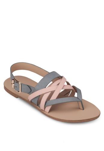 撞色zalora 評價多帶夾趾平底涼鞋, 女鞋, 涼鞋
