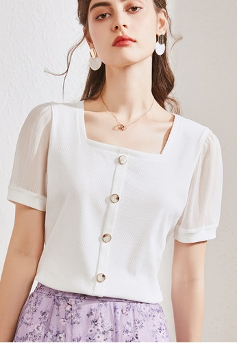HAPPY FRIDAYS white Vintage Square Collar Blouse JW GW-J164 37CAAAA563BF47GS_1