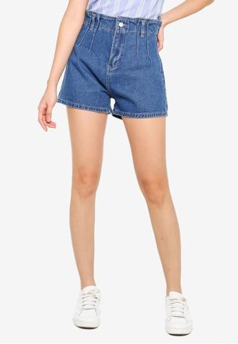 ZALORA BASICS blue Paperbag Denim Shorts 4A756AA25F200CGS_1