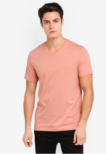 Burton Menswear London orange Hot Coral V-Neck T-Shirt BU964AA0T1HNMY_1
