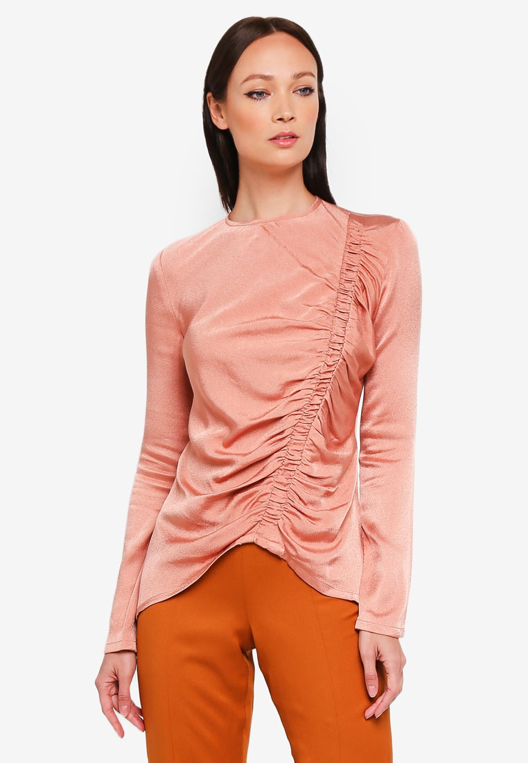 Charlee Pink 3thelabel Ruched Top Dusty nHdwWRvZA