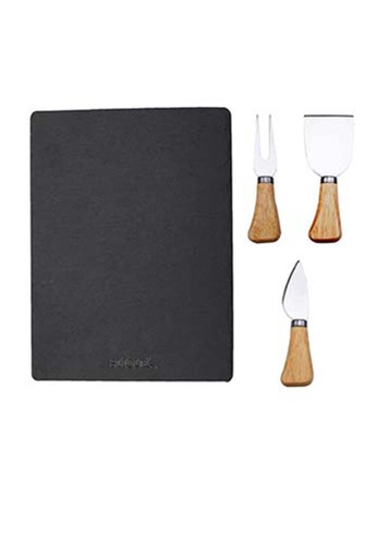 Slique brown Premium Slate Cheese Board And Stainless Steel Cutlery Set 51F04HLCC6E349GS_1