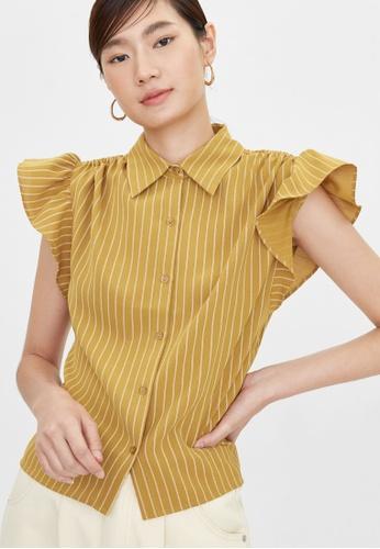 Pomelo yellow Ruffled Sleeves Striped Shirt - Mustard 23E8BAA44E9639GS_1