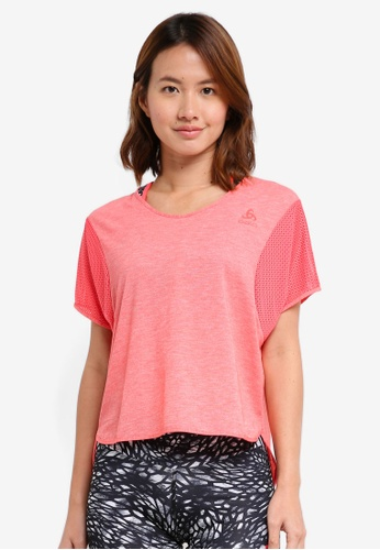 Odlo pink BL Top Cropped Crew Neck Short Sleeve Maia Tee 71C04AA54FE24AGS_1