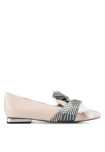 House of Avenues pink Color Block Bow Loafers 29EEFSHB4F7CFDGS_1