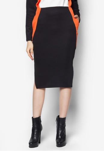 色塊拼接zalora 男鞋 評價鉛筆裙, 服飾, 裙子