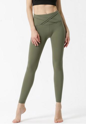 B-Code green ZYG3061-Lady Quick Drying Running Fitness Yoga Sports Leggings -Green BA4B7AA99E5784GS_1