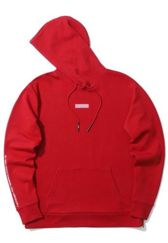 izzue red Graphic print patch hoodie 1A2DBAA725DA6FGS_1