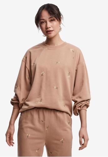 Vero Moda 粉紅色 Natalie 長袖 刺繡Sweatshirt FDD2CAA542DD27GS_1