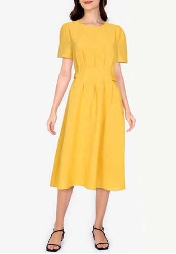 ZALORA WORK yellow Side Button Short Sleeves Dress 92471AAA1A1FFDGS_1