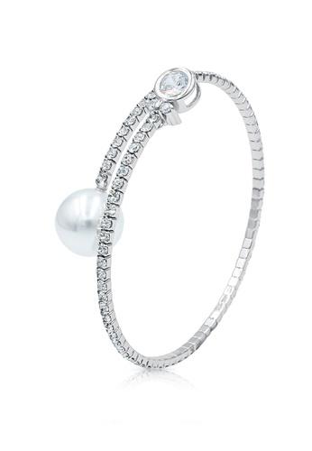 SO SEOUL silver Everleigh Perfume Diamond Simulant with White Pearl Open Bangle 08590AC9A0B1DDGS_1