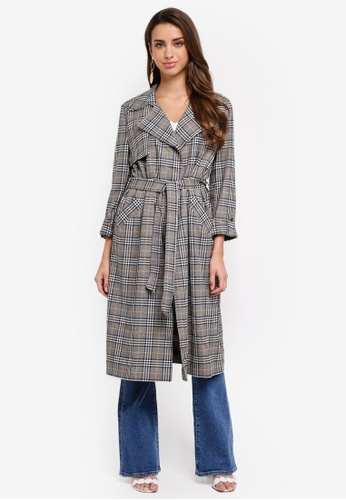 River Island grey Check Belted Trench Coat C6DEEAABE9BE77GS_1
