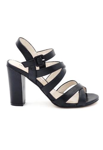 OSCAR & MAYA black JOSIE Criss-cross Straps 9cm High Heels OS304SH19GKYHK_1