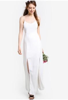 【ZALORA】 蕾絲邊飾細肩帶伴娘禮服