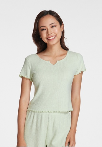 6IXTY8IGHT green LETTUCE, Supersoft Ribbed Lounge Top HW08637 B933CAAA227F69GS_1
