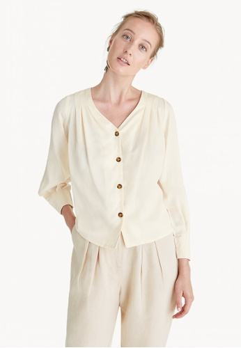 1ea6ab714 Shop Pomelo Premium Tencel Puffed Button Down Shirt - Cream Online on  ZALORA Philippines