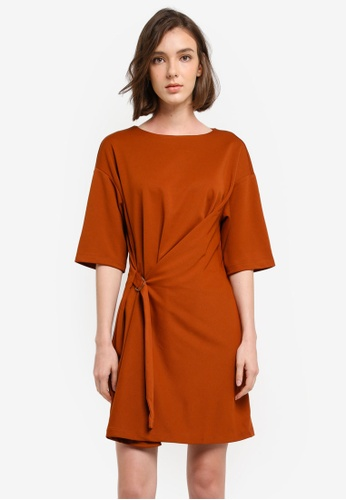 Mango brown Decorative Buckle Dress 664DFAA726F3C7GS_1
