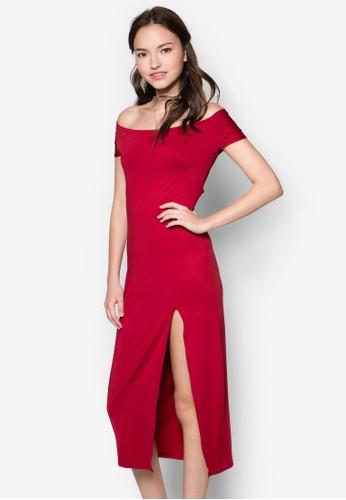 露肩鏤空及膝連身裙, 服zalora 折扣碼飾, 洋裝